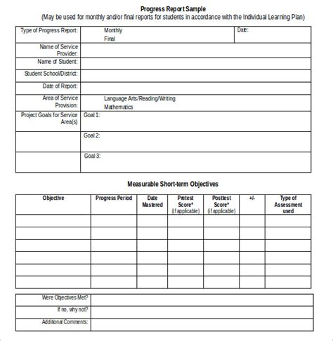 progress report template sle student progress report 17 documents in pdf word