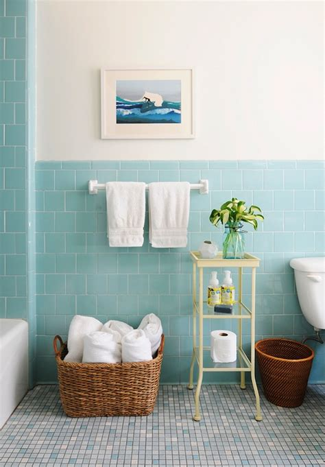 blue tiles bathroom ideas blue subway tile vintage bathroom rue magazine