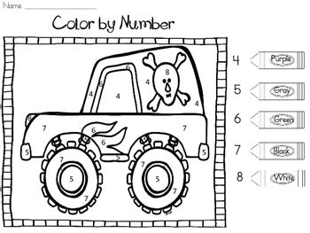 truck color by number coloring pages monster truck colors and numbers best truck in the word 2018