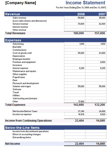 sample income statement 7 documents in pdf word excel