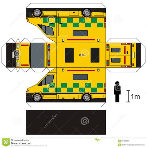Ambulance Paper Craft paper model of an ambulance stock vector illustration of