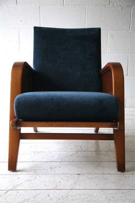 Velvet Armchair Uk 1930s Blue Velvet Armchair And Chrome
