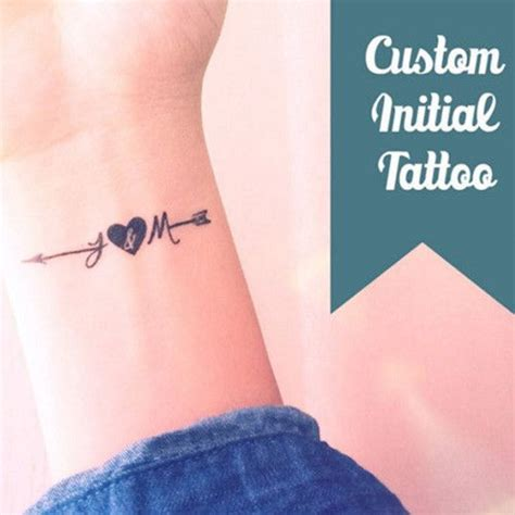 small initial tattoos 10 set of 2 or 4 custom small initial arrow