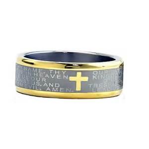 Mens Comfort Fit Wedding Bands 8mm Two Tones Titanium Christian Cross Bible Scroll Etch