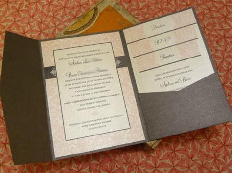 wedding invite folders pink damask wedding invitations vintage