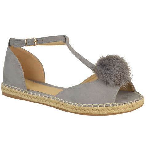 Sandal Pompom Flat womens espadrilles flat pom pom sandals slip on