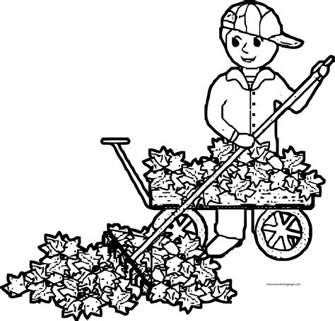 fall leaf coloring pages fall leaf cleaner boy coloring page wecoloringpage