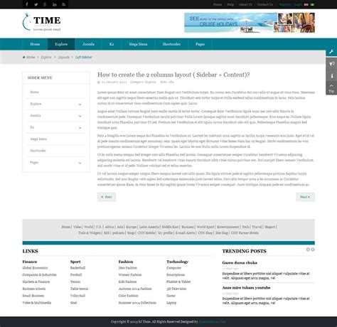layout menu joomla sj time responsive news portal joomla template by