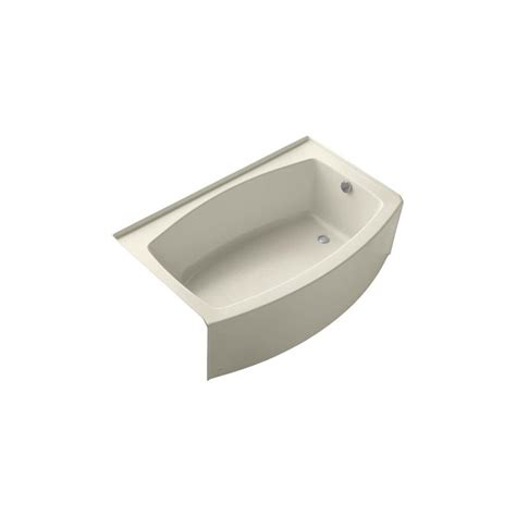 kohler expanse bathtub shop kohler expanse 60 in almond acrylic alcove bathtub with right hand drain at lowes com