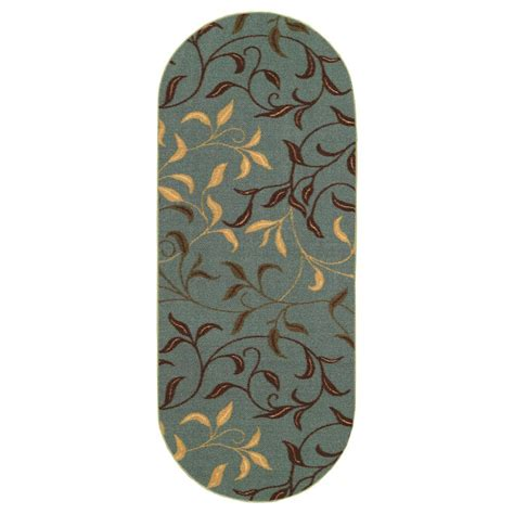 2 x 5 runner rugs ottomanson home collection seafoam leaves design 2 ft x 5 ft oval area rug oth2065o 2x5 the