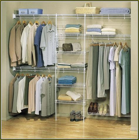 simple bedroom with metal wire wall closet organizer rack