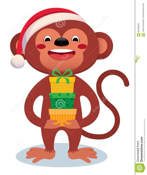 new year monkey stuff monkey with gifts new year stock vector image 62458940