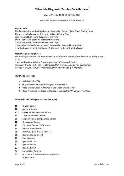 mitsubishi trouble codes mitsubishi manuals november 2011