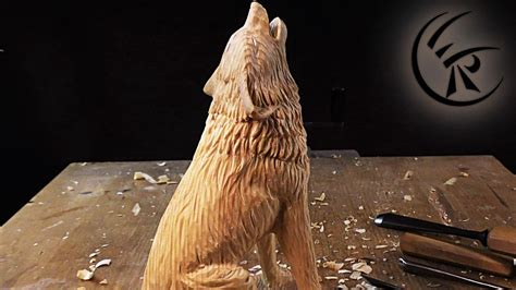 woodcarving howling wolf timelapse youtube