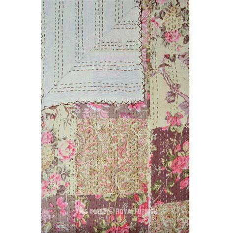 Patchwork Comforters Throws And Quilts - beige patchwork style boho pattern kantha quilted throw