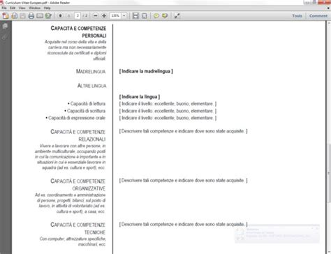 curriculum vitae europeo da compilare download curriculum vitae europeo in pdf download
