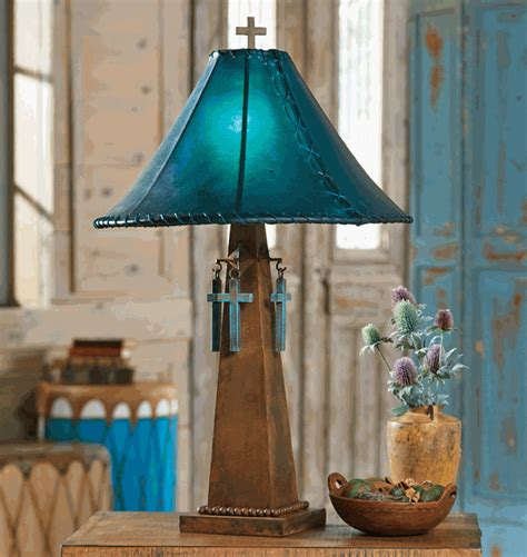 Santa Cruz Turquoise Table Lamp with Rawhide Shade