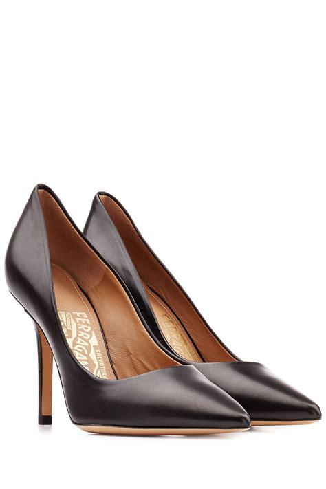 ferragamo high heels ferragamo high heel leather pumps black in black lyst