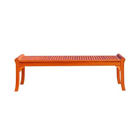 eucalyptus bench eucalyptus backless patio bench v437 the home depot