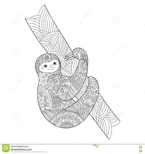 sloth an coloring book a coloring book for adults relaxation featuring floral designs mandalas and garden patterns for stress relief books sloth coloring book for adults vector stock vector image