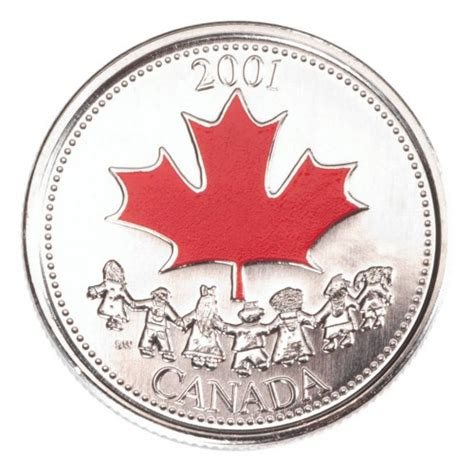 Coin Gift Card - 2001 canada day 25 cent coin gift card coloured