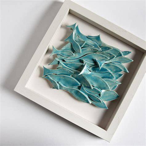 Home Decor Nautical Of Fish Modern Wall Art Sculptural Ceramic Tile By