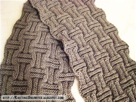 Scarf Knitting With Interesting Basketweave Texture