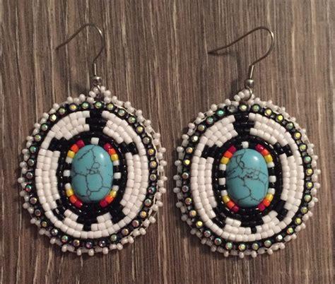 beadwork earrings navajo beaded oval turquoise turtle dangle