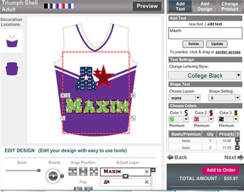 design cheer uniforms free online online sportswear design software customizing game