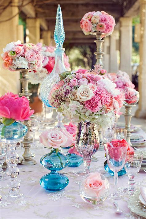 colorful wedding centerpieces with chagne