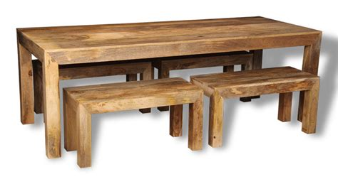 dakota light 220cm dining table 4 small benches trade