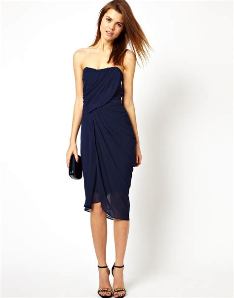 asos drape dress asos drape bandeau midi dress in blue lyst
