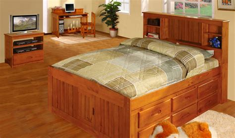 captains bed queen queen captains bed with bookcase headboard doherty house functional storage