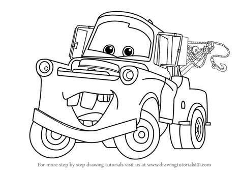 how to draw paint cars books learn how to draw tow mater from cars cars step by step
