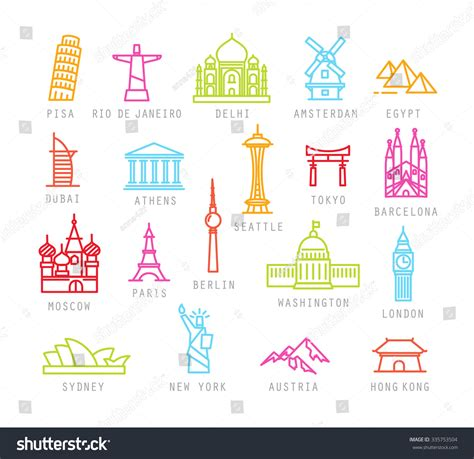 Amsterdam Fashion Icons And by City Icons Color Flat Style Names Stock Vector 335753504