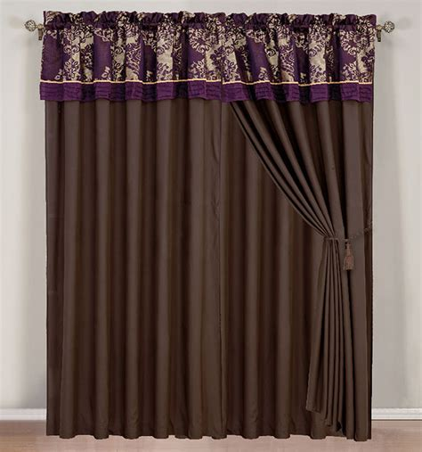 purple silver curtains purple silver chocolate jacquard curtain set