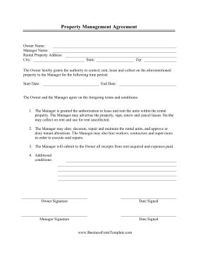 Property Management Agreement Template Management Contract Template