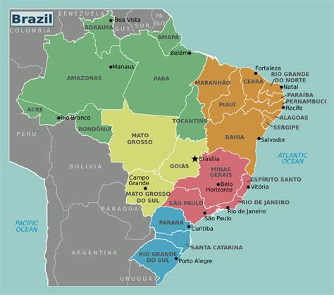 regions on a map large brazil regions map brazil south america
