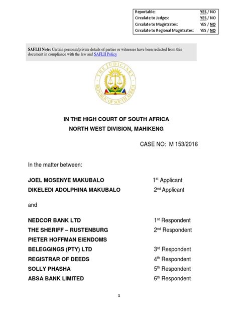 nedcor bank makubalo v nedcor bank judgment credit finance