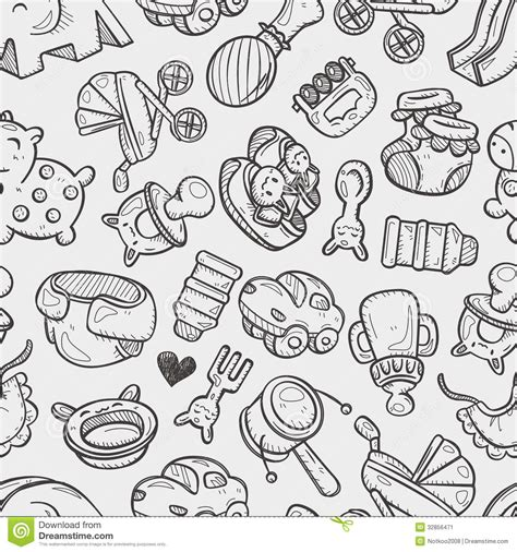 doodle baby seamless doodle baby pattern stock image image 32856471