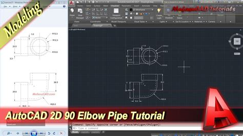 Drawing 90 Degree Autocad autocad classes 2d modeling 90 pipe tutorial