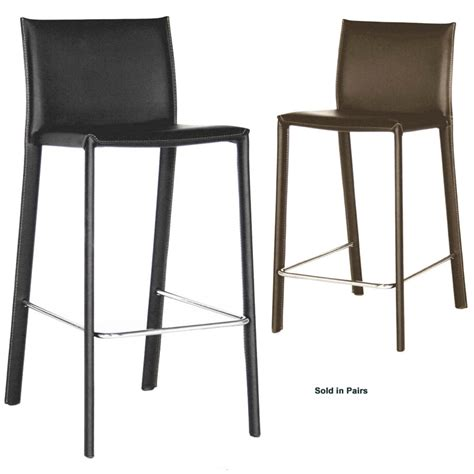 black leather counter stools wholesale interiors set of two leather bar stools black or brown alc 1822a 75