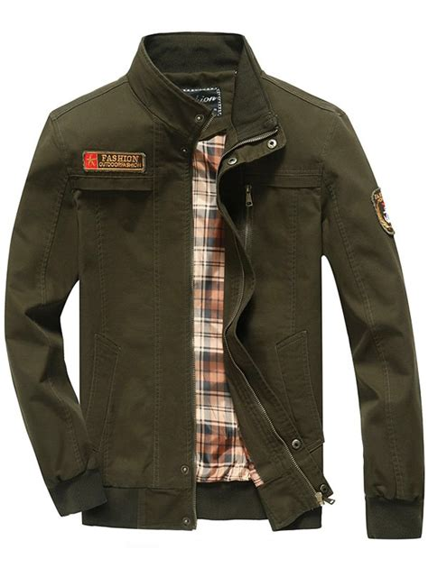 design jacket patch patch embellished snap button design jacket in army green
