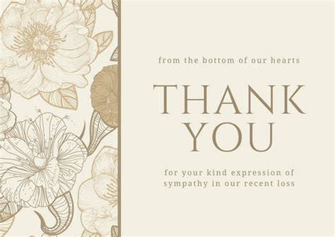 sympathy thank you cards templates brown floral sympathy thank you card templates by canva