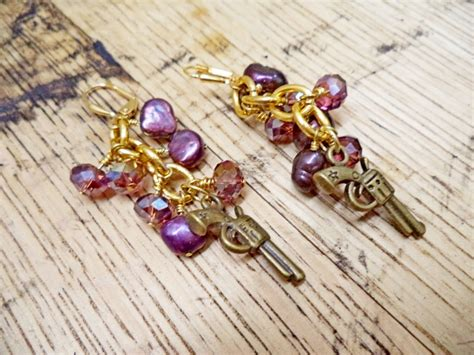 gun luxe jewelry freshwater pearl cluster earrings purple