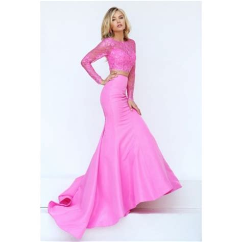 Gorgeous Mermaid Two Piece Pink Satin Lace Beaded Prom Dress With Long Sleeves