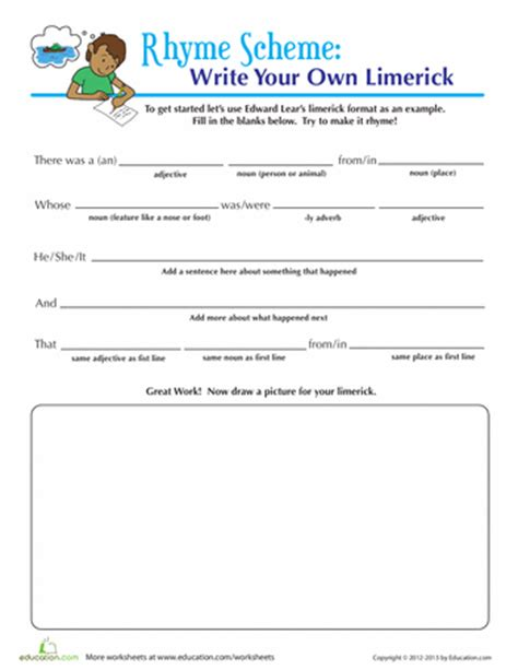 write a limerick worksheets school and language arts