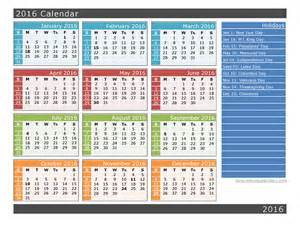 2016 yearly calendar with holidays printable 2016 calendar one