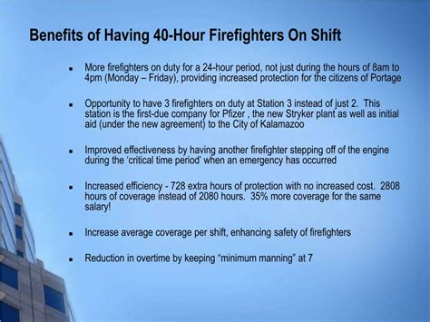 Benefits Hour by Ppt 40 Hour To 54 Hour Firefighter Powerpoint