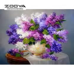 Flower Vase Paintings Diy Diamond Painting Needlework Square Full Diamond